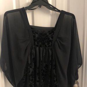 H&M Beautiful velvet inlay black kimono top